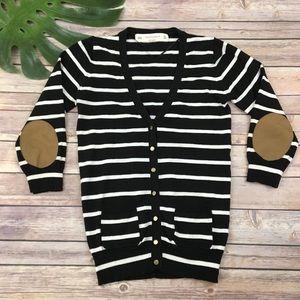 Zara Knit black striped cardigan sweater